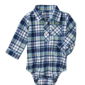 Blue-White Flannel Bodysuit