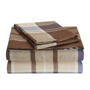 Bold Brown Madras Checked Flannel Bed Sheet