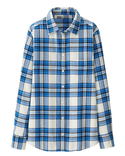 Bottle Blue and White Check Flannel Shirt Suppliers