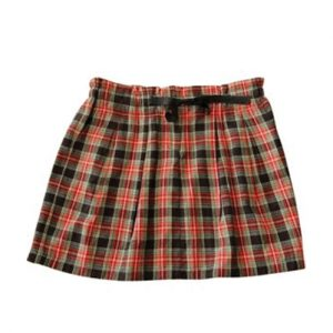 Box Pleat Orange and Black Check Flannel Skirt