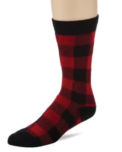 Brazen Red and Black Check Socks