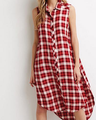 Breezy Flannel High-Low Dress