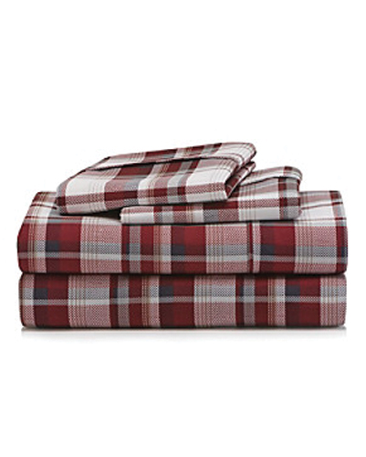 Brick Red Madras Flannel Bed Sheet