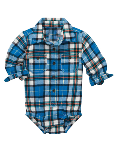 Bright Blue Button-up Flannel Bodysuit