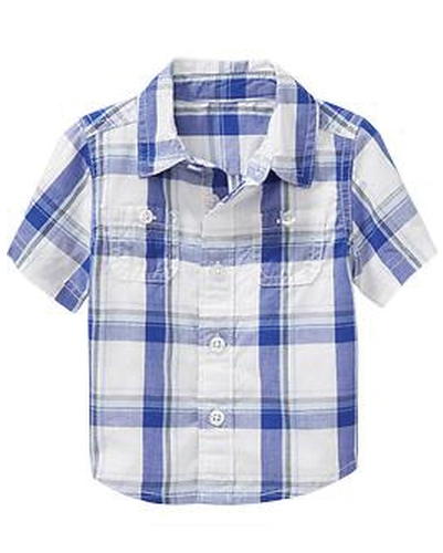 Bright Indigo Checked Baby Shirts