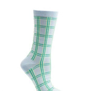 Bright White and Green Check Socks