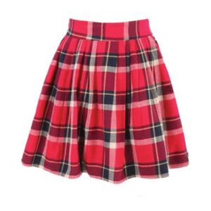 Broad Belt Check Flannel Skirt