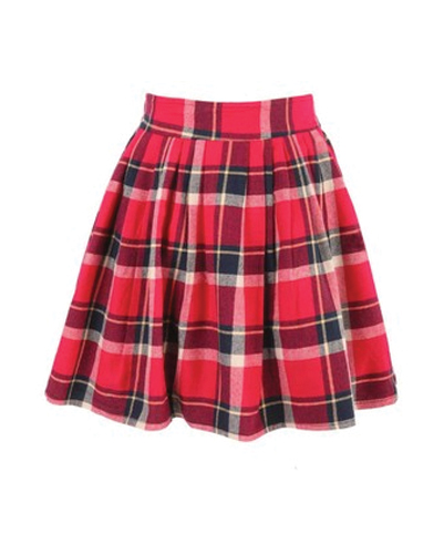 Broad Belt Check Flannel Skirt