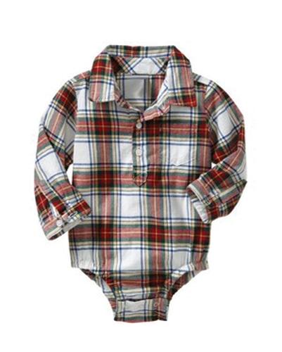 Brown Button Up Flannel Bodysuit