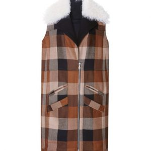 Brown Checked Flannel Vest for Women