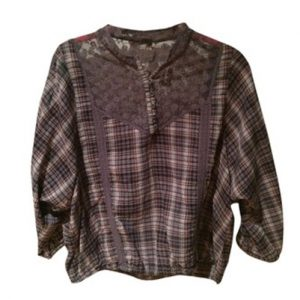 Brown Flannel Peasant Top