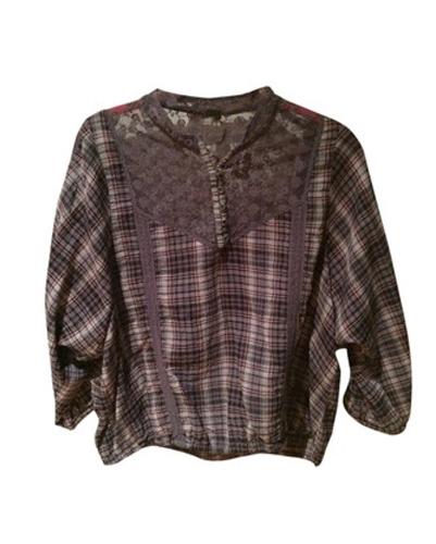 Brown Flannel Peasant Top