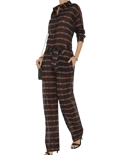 Brown Formal Flannel Jumpsuit