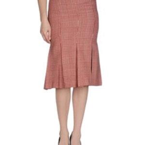 Burnt Brick Red Check Flannel Skirt