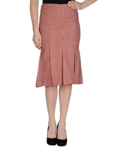 Burnt Brick Red Check Flannel Skirt