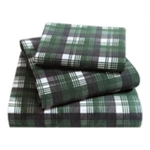 Bus Green Plaid Flannel Bed Sheet