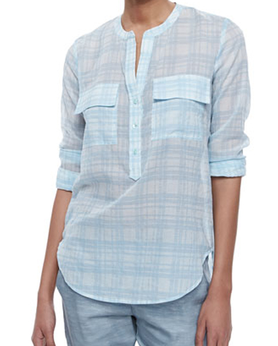 Cascade Blue and White Cotton Flannel Shirt