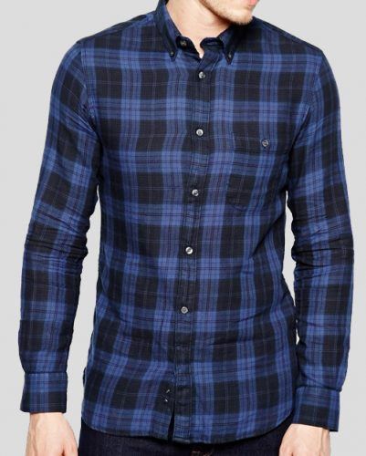 Casual Blue Plaid Flannel Shirt for Men