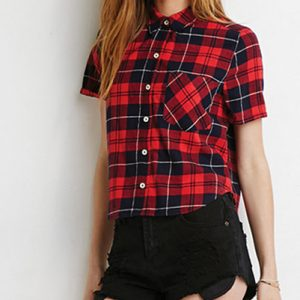 Charming Charlie Red Checked Flannel Shirt