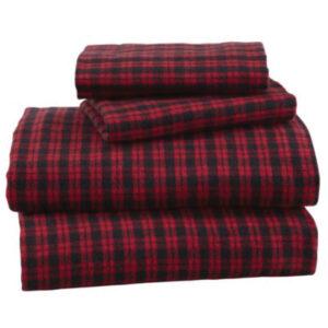 Cherry Wine Mini Checks Flannel Bed Sheet