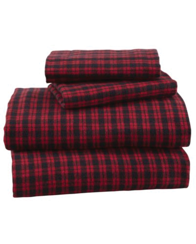 Cherry Wine Mini Checks Flannel Bed Sheet