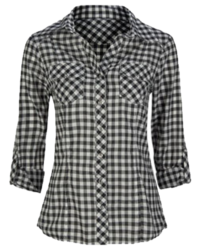 Classic Gingham Ladies Black Flannel Shirt