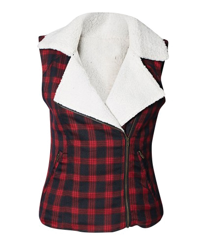 Classic Red & Black Checked Sleeveless Jacket for Women