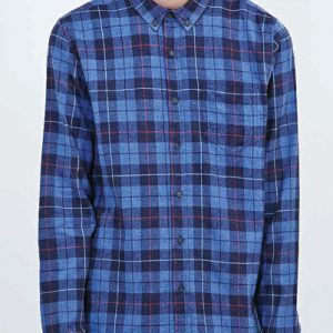 Color Lock Blue Check Flannel Shirt