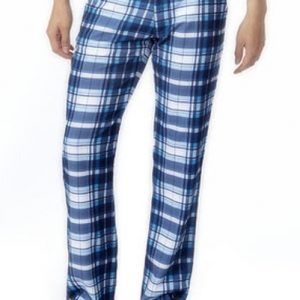 Cool Blue and White Boxer Check Flannel Pants