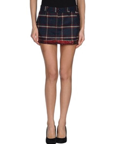 Cool Blue and White Check Flannel Skirt