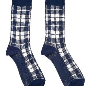 Cottage Cheese Cream and Blue Check Socks
