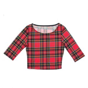 Crew Neck Red Flannel Crop Top