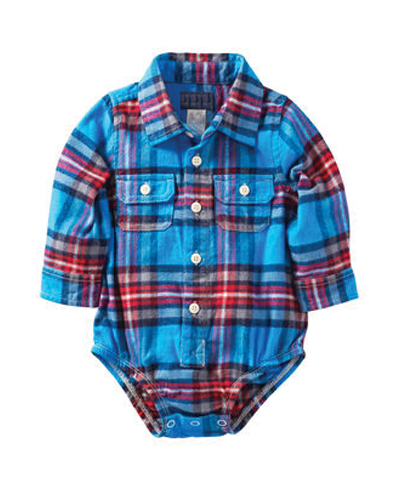 Crisp Blue-Red Flannel Bodysuit