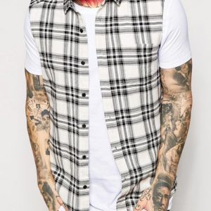 Cut Sleeves Black-White Cool Flannel Shirt