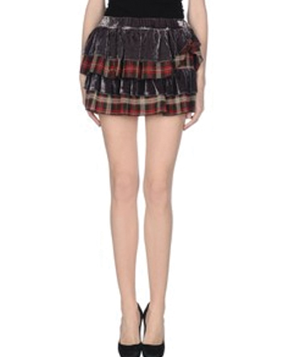 Cute Burnt Toffee Check Flannel Skirt
