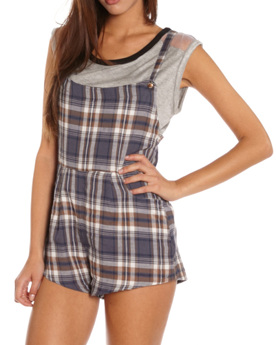 Cute Grey Checked Flannel Jumpsuit