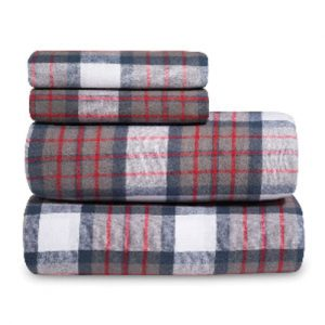 Deep Earth Wooly Plaid Flannel Bed Sheet