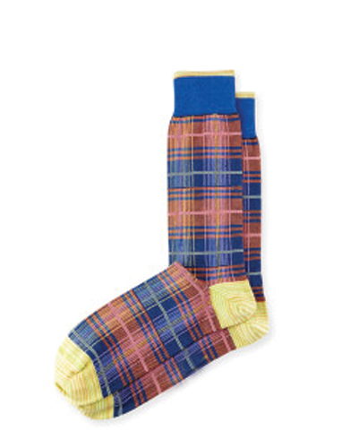 Demark Blue and Brown Check Socks