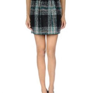 Demure Black and White Slash Flannel Skirt