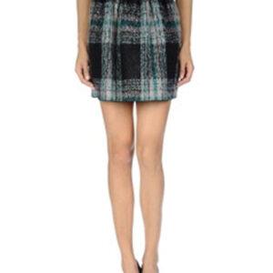 Demure Black and White Slash Flannel Skirt