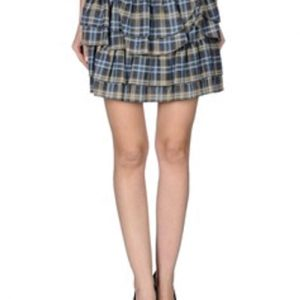 Double Decker Check Flannel Skirt