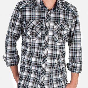 Double Pocket Black Tartan Checked Shirt