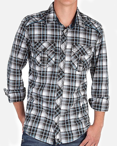 Double Pocket Black Tartan Checked Shirt