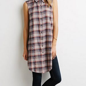 Dusty Brown Sleeveless Flannel Shirt Dress
