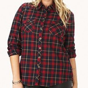Effective Red Check Oversized Flannel Shirt