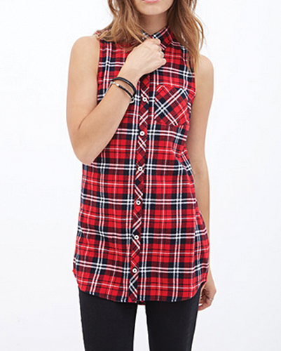 Flannel Checked Tunic