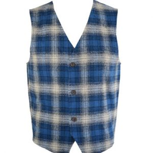 Flannel Vest In Diffused Blue Checks