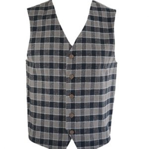 Flannel Vest in Grey & Black Checks