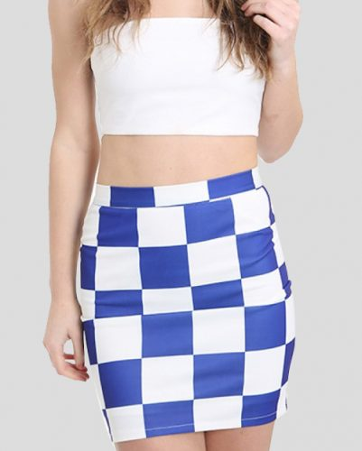 Flighty Blue and White Check Flannel Skirt