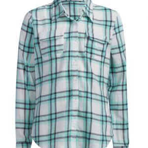 Folded Sleeves Girls' Flannel Shirt